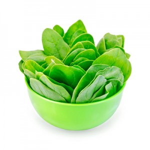 Spinach in a green bowl
