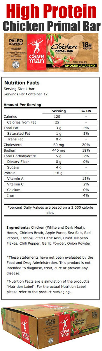 Chicken Primal Bar Package, Nutrition and ingredient List