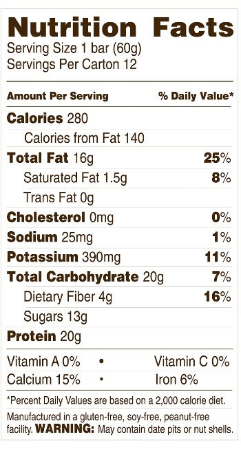 Rise Protein Bar Package Label