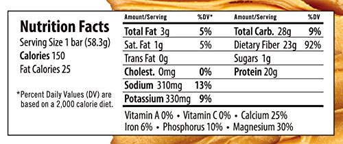 Sunflower Butter Paleo Protein Bar Nutrition Content Label
